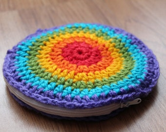 Rainbow Circle Crochet Coin Purse Pouch Wallet