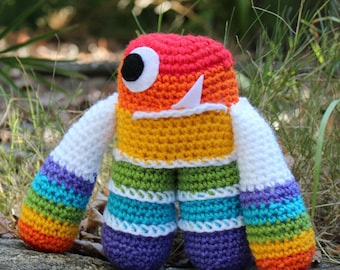 Rainbow-Monster Alien Crochet Plushie Soft Toy