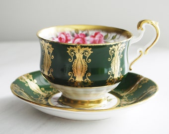 Paragon Teacup and Saucer, Green and Gold with Pink Roses