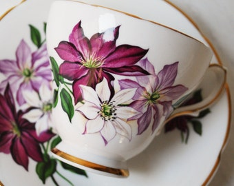 Delphine Teacup and Saucer, Purple Clematis Tea Cup