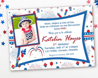 4th Of July First Birthday Invitation Red White And Blue Fourth Party Invites