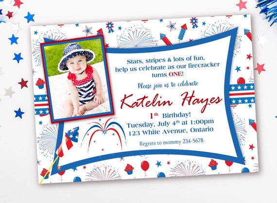 4th Of July First Birthday Invitation Red White And Blue