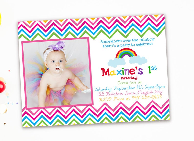 Rainbow 1st Birthday Invitations Party