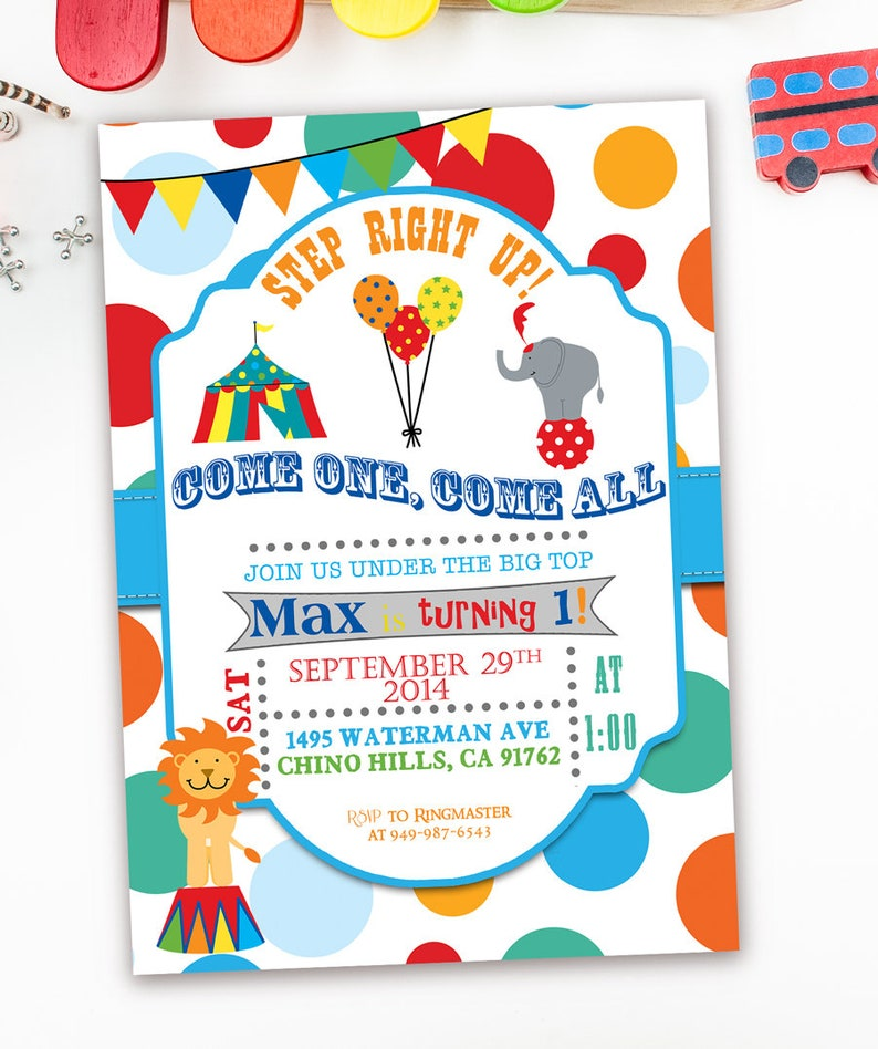 Carnival Themed Party Invitations First Birthday