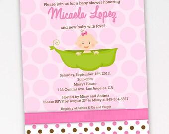Pea in a Pod Baby Shower Invitation, Baby in a Pod Baby Shower Invite, Girl Pea in a Pod Baby Shower Invite-Digital File You Print