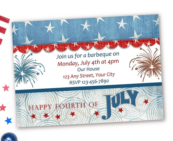 Red White And Blue Invitations 4th Of July Birthday