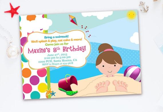 beach invitation for kids beach birthday party invitation for etsy