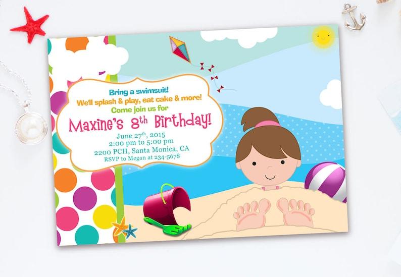 Beach Invitation For Kids Birthday Party Girl Summer Invite Splish Splash