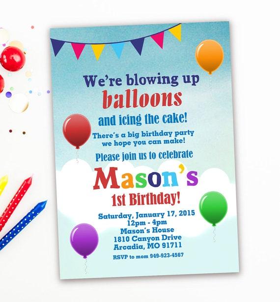 1st birthday balloons invitations up up and away birthday etsy