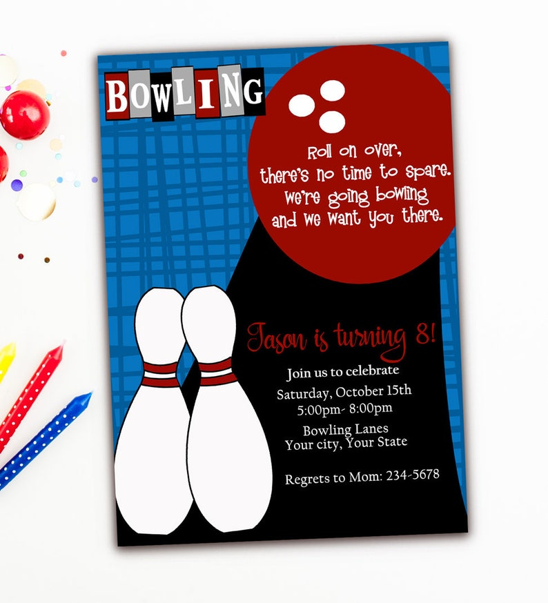Bowling Birthday Party Invitation Boy