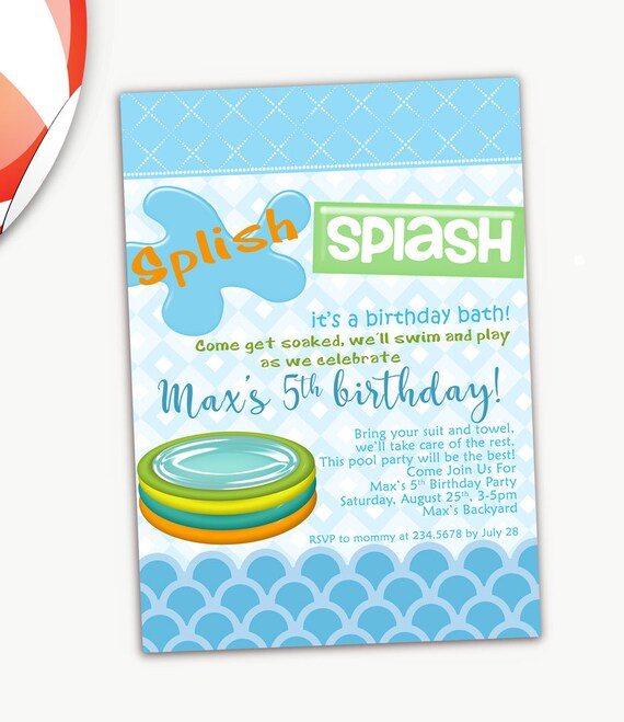 Pool Party Birthday Invitation Summer Invitations