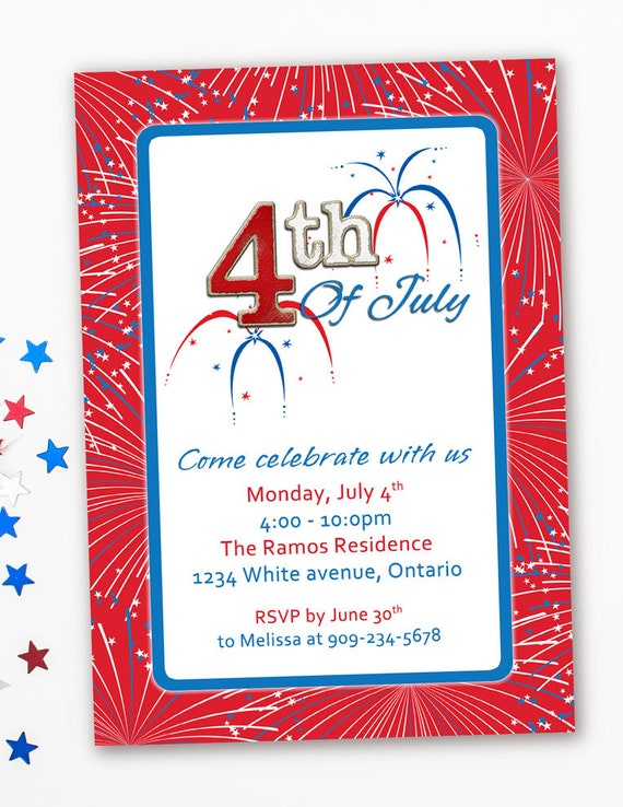 patriotic invitation 4th of july party summer bbq birthday etsy