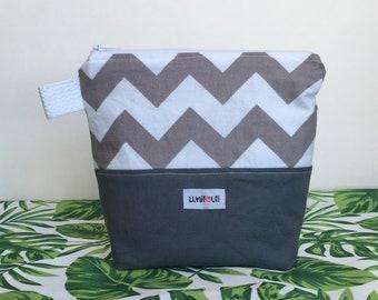 Reusable sandwich bag, reusable snack bag, reusable zippered bag, ecofriendly, zero waste, snack bag, reusable, food safe Gray white chevron