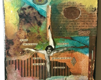 Divine Discovery - Original Mixed Media Collage - Vintage Collage 1920's - Collage Art - Inspirational Art - Whimsical Dancer - Ballet Art