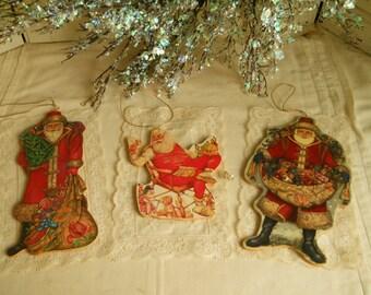Santa ornaments Vintage Wood Santas Christmas Tree Ornaments Package Tie- Ons Solid Wood Hanging Ornaments Vintage Christmas  Decor