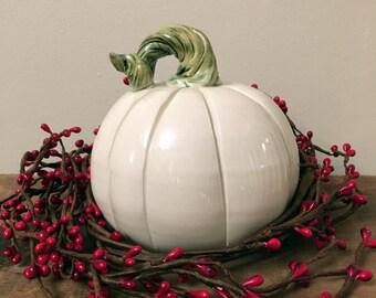 Handmade Ceramic Pumpkin, White