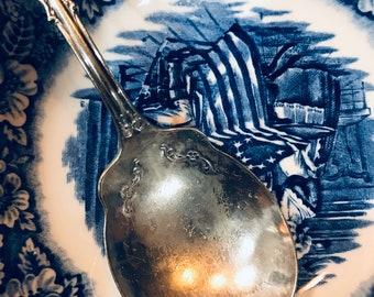 Antique Sterling Silver Washington Irving Ferry Hudson River Souvenir Spoon.