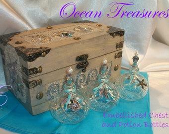 Ocean Treasures Embellished Chest, with Coordinating Embellished Bottles - Gift Set