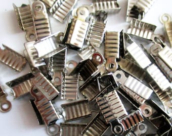 50pc Silver Tone End Caps Clasps 10mm Leather Cord Ends DIY Jewelry Findings