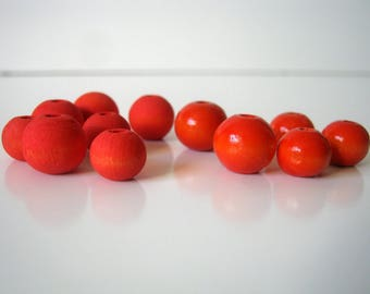 Tangerine Red Hand Dyed Wood Beads, Jewelry Supplies, General Crafts