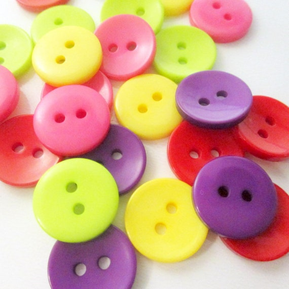 Two Hole Buttons 40 Black 15mm Resin Buttons 15mm Buttons