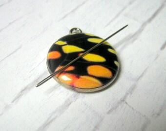 Yellow Tone Butterfly Charm Needle Minder, Hand Needle Notion, Notion, Cross Stitching, Embroidery, Needlepoint, Needle Minder