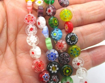 Lampwork Glass Flat Round Millefiori Beads, 8mm Millefiori Beads, Jewelry Making Supplies  Box8mmF