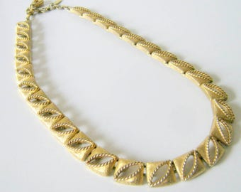 Monet Necklace, Vintage Gold Tone Square Link Necklace, Fashion Jewelry, Necklace, Gift for Her