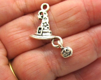 5 Wizard Hat with Pumpkin Antique Silver Charms, 26x14mm Halloween Charms, Charms, Jewelry Making Supplies G1479
