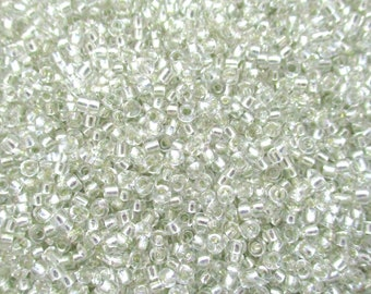Transparent Clear with Silver Lined Round 10/0 Seed Rocailles, 2mm Seed Beads, 20 grams