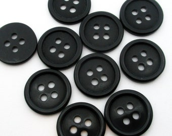 50 Black 15mm Resin Buttons, 15mm Buttons, Four Hole Buttons  (Box2B)
