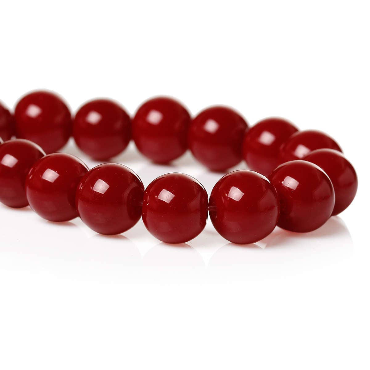 Forty Red Bangles: 40 Red Wine Glass Beads 8mm Jewelry Making Supplies Red