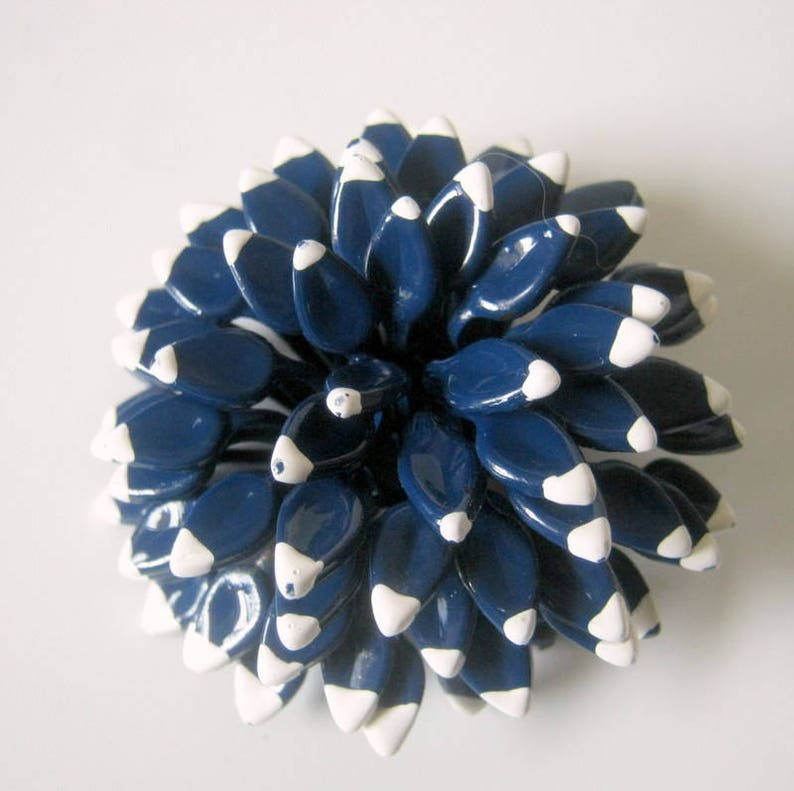 Blue Brooch Vintage Painted Blue and White Pinecone Brooch Gift for Her