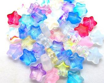20 Lampwork Star Beads, 8mm Glass Star Beads, Glass Beads  (Box8mmE)