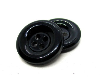 20 Black Resin 18mm Four Hole Buttons, 18mm Buttons, Fasteners