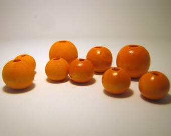 Solar Orange Hand Dyed Wood Beads, Jewelry Supplies, General Crafts