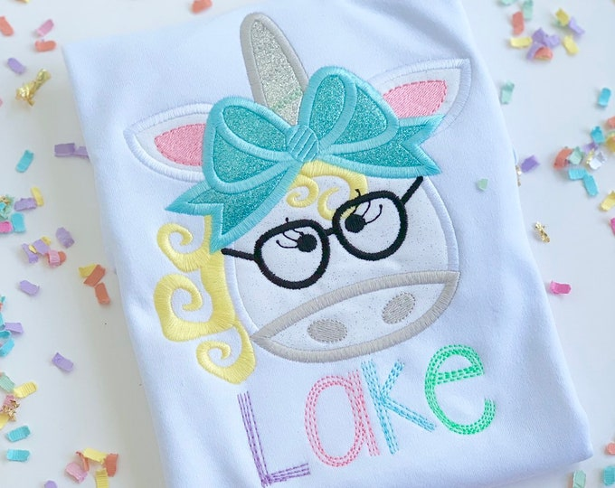 Unicorn Back to School Shirt or Bodysuit for girls -- One Smart Unicorn -- unicorn shirt with name in silver and pastel rainbow colors