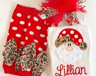 Baby Girl Christmas oufit -- Sassy Santa -- Santa in leopard print and red bodysuit, leg warmers, bow/headband