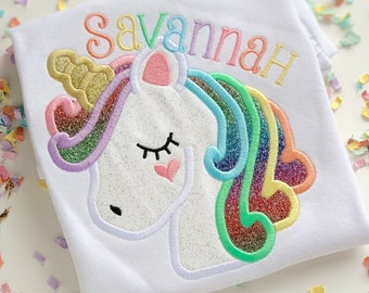 Unicorn Shirt or Bodysuit for girls -- Unicorn Wishes -- glittery unicorn shirt with name in pastel rainbow colors
