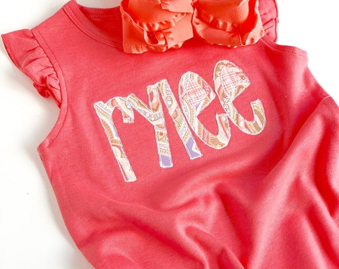 Baby Girl coral romper -- personalized with name -- angel sleeve coral and lavender coming home outfit -- size 3-6 to 2t