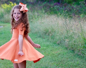 Pumpkin Dress for Girls, Twirly Dress a beautiful burnt shade of orange - monogrammed dress size 12m to girls 10