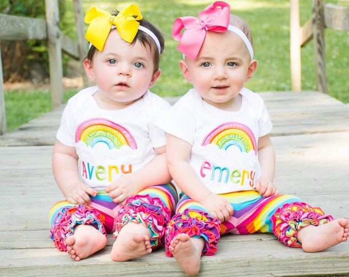 Rainbow Ruffle capris - Counting Rainbows - Striped knit ruffle capris in a rainbow of colors - FREE SHIPPING - Limited Quantities