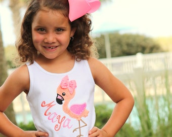 Flamingo shirt, tank top or bodysuit for girls in pink, coral and peach for summertime - flamingo shirt for the beach