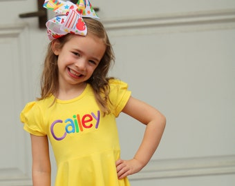 Back To School Dress for Girls, Twirly Dress in Buttercup with rainbow name - monogrammed dress size 18m to girls 8