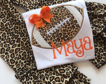 Girls Football Shirt or bodysuit  -- Football Diva -- Leopard print football shirt with CHOICE of Color and name