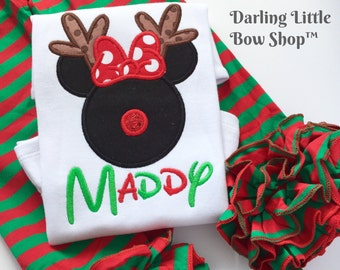 Very Merry Christmas shirt or bodysuit for girls -- Miss Mouse ears with rudolf reindeer nose -- ADORABLE!