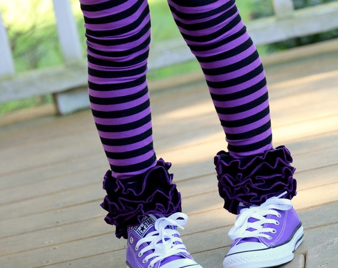LIMITED Halloween Ruffle Leggings - Witch Way To The Party - knit ruffle leggings in purple and black - size Newborn to 10