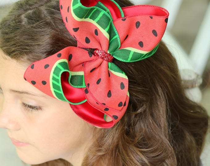"Watermelon bow -- 6-7"" Large hairbow with optional headband -- red and green watermelon-- Darling Little Bow Shop"