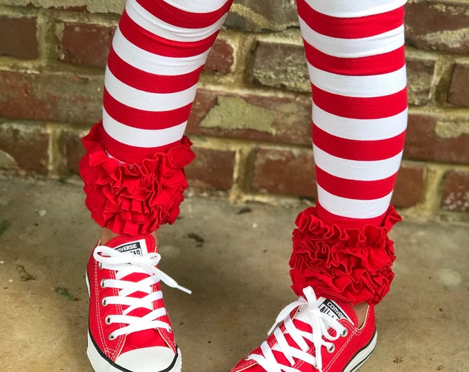 Peppermint Stripe Ruffle Leggings - red and white striped Icings Ruffle Leggings - gorgeous knit ruffle leggings - size NB to 10