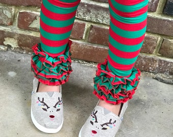 Holly Jolly Ruffle Leggings - red and green striped Icings Ruffle Leggings - gorgeous knit ruffle leggings - size NB to 10
